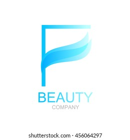 Abstract letter F logo design template with beauty spa salons. yoga