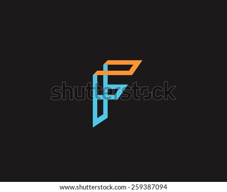 abstract letter f logo design template stock vector royalty free