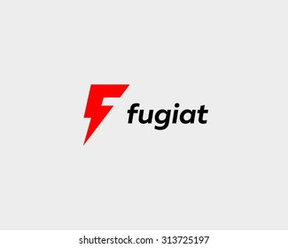Abstract letter F logo. Dynamic unusual font. Universal fast speed moving quick energy icon. Flash vector logotype.