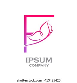 Abstract letter F logotype Pink colour with Butterfly Linear style logo, Beauty and Cosmetic sign for your Corporate identity