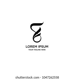 Abstract letter F or S logo vector design. Curve black symbol icon template.