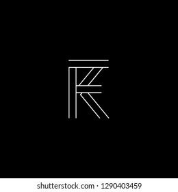 Abstract letter FK KF. Minimal logo design template. Vector letter logo with white and black color.