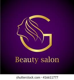 Abstract letter G logo,Gold Beauty salon logo design template