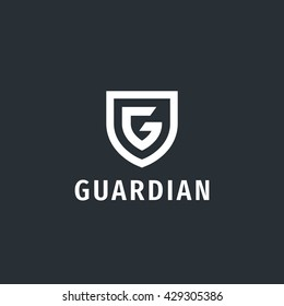 Abstract letter G shield logo design template