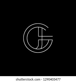 Abstract letter GJ JG. Minimal logo design template. Vector letter logo with white and black color.