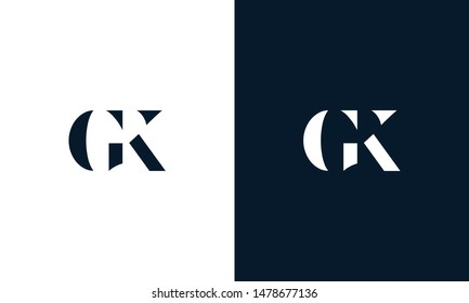 Abstract letter GK logo. This logo icon incorporate with abstract shape in the creative way.