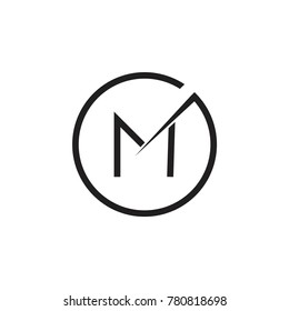 abstract letter gm circle logo vector