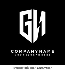 Abstract letter GN shield logo design template