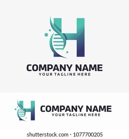 Abstract Letter H and Dna Vector Logo
