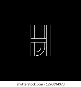 Abstract letter HJ JH. Minimal logo design template. Vector letter logo with white and black color.