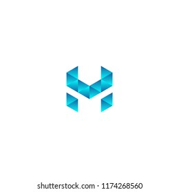 abstract letter HM with blue crystal 3D effect template vector logo