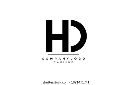 Abstract Letter Initial HD or DH Vector Logo Design Template