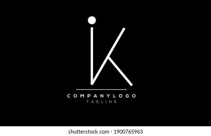 Abstract Letter Initial IK,KI Vector Logo Design Template