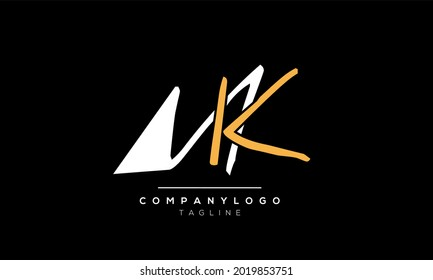 Abstract Letter Initial MK KM Vector Logo Design Template