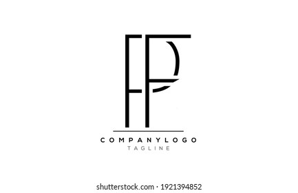 Abstract Letter Initial PF and FP Vector Logo Design Template