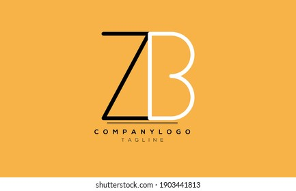 Abstract Letter Initial ZB Vector Logo Design Template