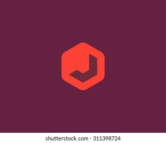 Abstract letter J logo design template. Colorful creative hexagon sign. Universal vector icon.