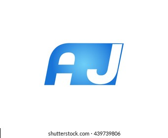 Abstract letter A J. lovely logo design template. Vector letter logo with blue color.