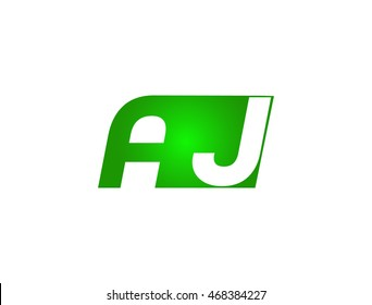 Abstract letter A J. lovely logo design template. Vector letter logo with Green and Gray color.