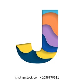 Abstract letter J silhouette with colorful waves cut paper isolated on white background