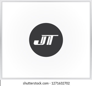 Abstract letter JT logo. JT letter on circle background