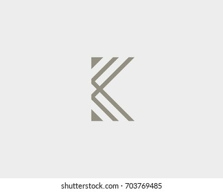 Abstract letter K logo design. Linear vector monogram symbol. Premium business icon logotype.