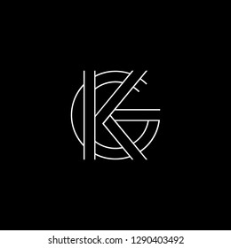 Abstract letter KG GK. Minimal logo design template. Vector letter logo with white and black color.