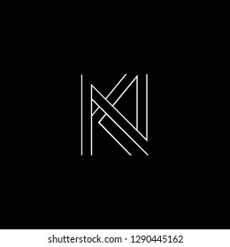 Abstract letter KN NK. Minimal logo design template. Vector letter logo with white and black color.