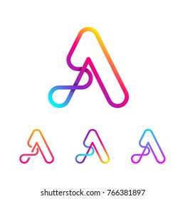 Abstract Letter A Line Monogram Colorful loops logotype, Circle shape, swirl spiral infinity logo symbol, Technology and digital connection