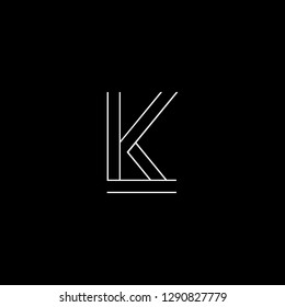 Abstract letter LK KL. Minimal logo design template. Vector letter logo with white and black color.