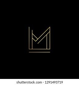 Abstract letter LM ML. Minimal logo design template. Vector letter logo with gold and black color.