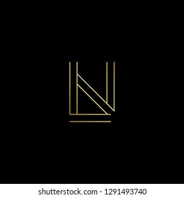 Abstract letter LN NL. Minimal logo design template. Vector letter logo with gold and black color.