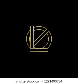 Abstract letter LO OL. Minimal logo design template. Vector letter logo with gold and black color.