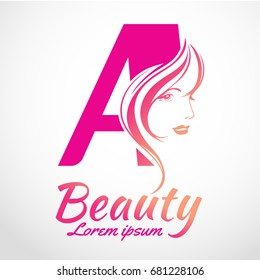 Abstract letter A logo, Beauty salon vector logo template