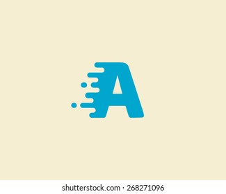 Abstract letter A logo design template.  Dynamic vector unusual font. Universal fast speed fire moving water quick energy drop icon.