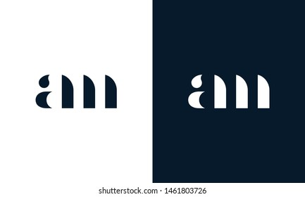Abstract letter AM  logo. This logo icon incorporate with abstract shape in the creative way. It look like letter AM. It will be suitable for Which company name start AM.