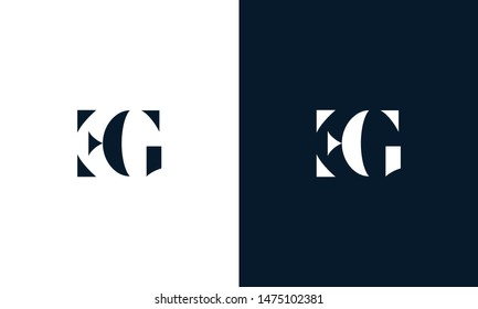Abstract letter EG logo. This logo icon incorporate with abstract shape in the creative way.