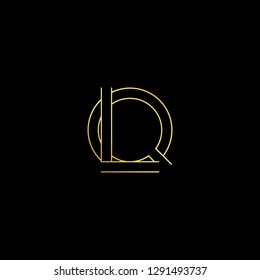 Abstract letter LQ QL. Minimal logo design template. Vector letter logo with gold and black color.