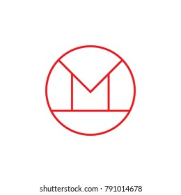abstract letter m in circle thin llines logo vector