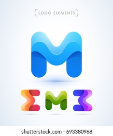 Abstract letter M, E, B logo template. Material design style