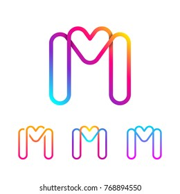 Abstract Letter M Line Monogram Colorful loops logotype, Circle shape, swirl spiral infinity logo symbol, Technology and digital connection