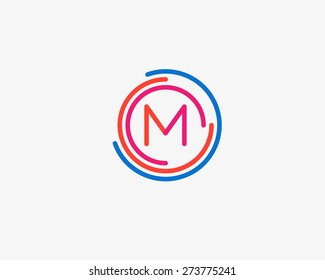 Abstract letter M logo design template. Colorful creative sign. Universal vector icon.