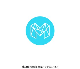 Abstract letter M logo design template. Structure simple line sign. ?ontact, business, medicine, development, mobile app vector symbol icon.