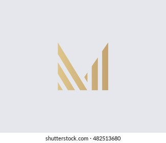 Abstract letter M logo design. Linear creative monochrome monogram symbol. Universal elegant vector icon. Premium business finance logotype.
