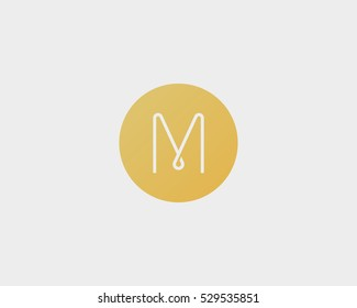 Abstract letter M logo design. Line vector monogram