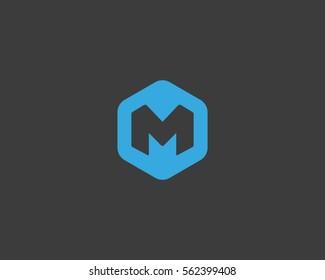 Abstract letter M logo design template. Creative hexagon sign mark. Universal vector icon logotype.