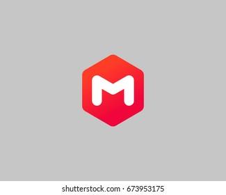 Abstract letter M logo design template. Creative hexagon sign mark. Color vector icon logotype.