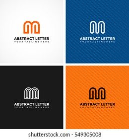 Abstract Letter M Logo template. 4 alternative logo template. Vector Illustrator eps.10