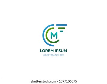 Abstract letter M logo vector design. Icon technology and circle speed concept template.
