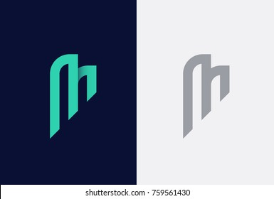 Abstract letter M logotype. Modern logo idea sign. Universal emblem vector icon.